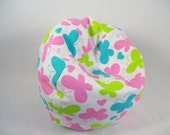 Doll Furniture - Cozy Flannel Bean Bag Chair with Pink, Turquoise, and Lime Green Butterflies for American Girl Dolls
