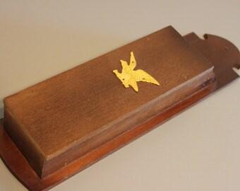 Vintage/ Antique Wall Mount Wood Long Match Box with gold eagle, matchbox, match box holder,, wood matchbox holder