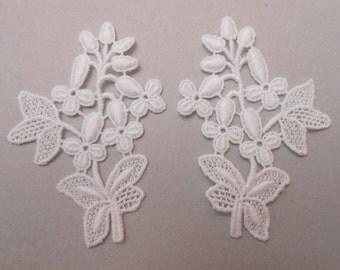 2 applique lace 7 X 5 cm for your creations
