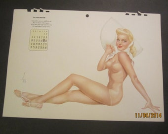 Vintage Calendar 1943 Vargas pin-up original (September calendar page)
