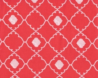 Cotton Fabric -  Coral and White Quatrefoil Cotton Fabric by the Yard - Quilt Fabric - Apparel Fabric - Home Decor Fabric - Fat Quarters