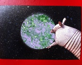 SHIT IN SPACE #12 Armadillo...in space! Mixed media collage art series.