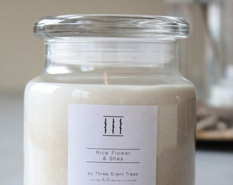 Three Silent Trees   Rice Flower and Shea Handmade Soy Candle - Medium Apothecary Jar