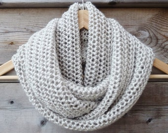 Natural Infinity Scarf - Off White and Gray Infinity Scarf - Circle Scarf - Ready to Ship