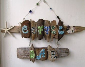 Coffee Bar Driftwood Art, Reclaimed Wood Art, Driftwood Painting,Shabby Chic Home Decor, Beach Decor, Painted, Vacation home
