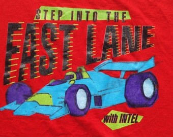 Vintage 1990s Intel Step Into the Fast Lane Red T Shirt XL Oneita 100% Cotton