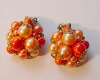 Red Coral Cluster Clip on Earrings