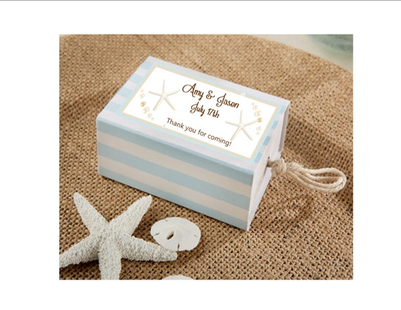 Nautical Wedding Personalized Favor Boxes Set Of 12 Favor