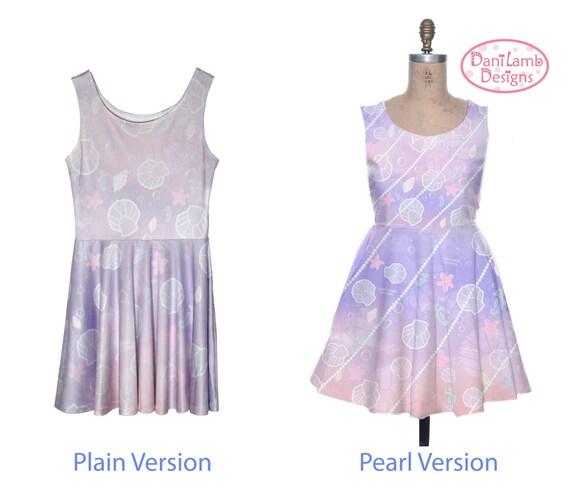 a5da0ccb59 Kawaii Marine Ocean Mermaid Dress Printed Skater Dress Splash Dream  Undersea Seashell Pastel Fairy Kei Size