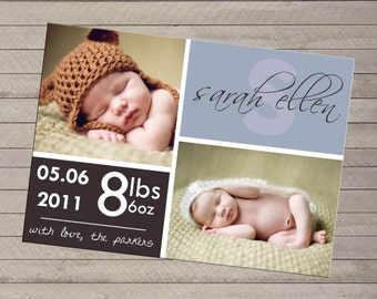 Print-yourself Photo Birth Announcement - For Baby Boy or Girl, Pink and Blue