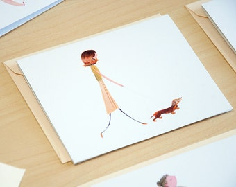 Miniature Dachshund Dog Walkers Set of 5 Cards