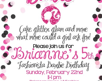 Barbie-Glamour Girl Birthday Invitation