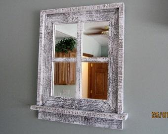 Barnwood Window Mirror 4 Panes White washed