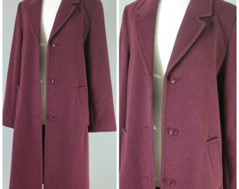 Vintage BORDEAUX WOOL COAT/ Size 36 Euro/ Small-Medium