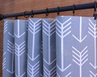 SUMMER SALE! Curtains, Window Treatments, Nursery Baby Room Decor, Curtain Panels, Arrow Cool Grey shown, MORE Colors