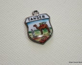 Vintage Travel Charm Enamel and Silver Tanger Tangier Morocco Shield Charm Rare French Spelling