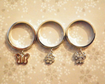 1 Set Gigi Silverplated Stackable Butterfly Ring Charms