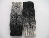 Black - Gray Fingerless Gloves/Mittens with Four Owls  of  Wool.