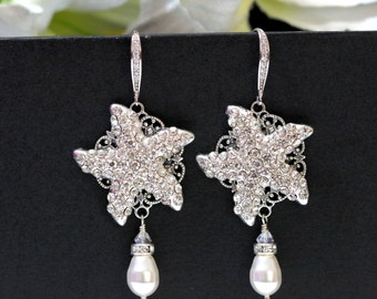 Bridal Starfish Earrings, Pearl Starfish Wedding Earrings, Beach Wedding, Dangle Starfish Earrings, Destination Wedding Jewelry KAI