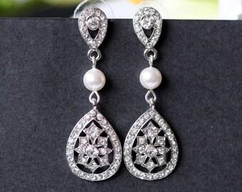 Chandelier Earrings, Teardrop Art Deco Wedding Earrings, Crystal Bridal Earrings, Vintage Wedding Bridal Jewelry, Bridesmaid Earrings KENDRA