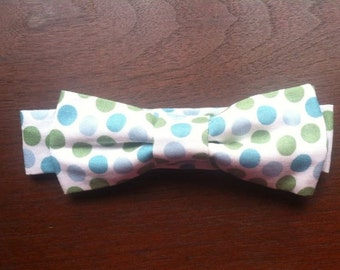 Boys bowtie- blue green polka dot