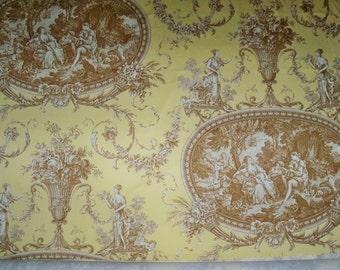 SHABBY ROMANTIC FRAGONARD French Toile Fabric 10 yards Amber Yellow