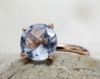 SUMMER SALE - rose gold ring,blue topaz ring,gemstone ring,round stone ring,cocktail ring,10mm rings,faceted stone ring