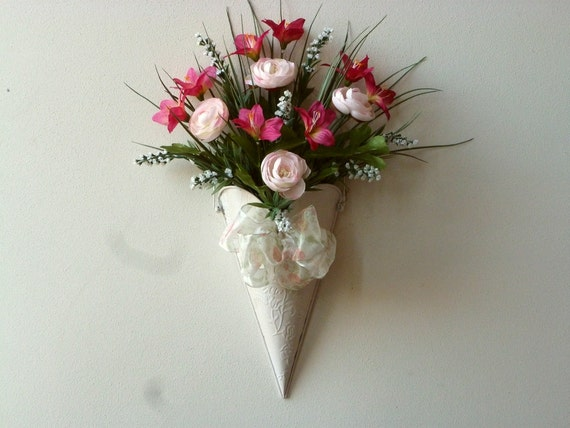 Items Similar To Whitewashed Metal Cone Floral Door Pocket