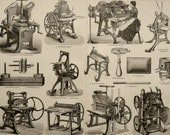 1895 Antique print of PRINTING PRESSES, different types. Book printing. 121 years old engraving.