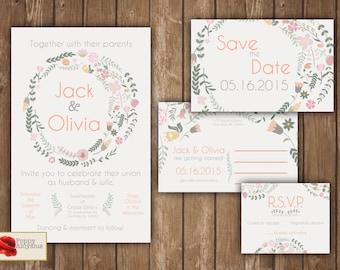 Boho floral wedding invitation set