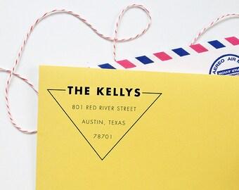 custom triangle return address stamp / geometric rubber stamp with wood handle
