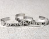Custom Hand Stamped Bracelet, Personalized Bracelet, Custom Name Jewelry, Quote Cuff Bracelet, Gift Idea, Personalize your Jewelry