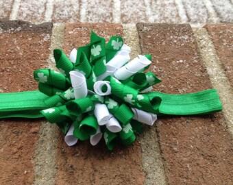 Sale-READY TO SHIP St. Patrick's Day Green and White Shamrock print Korker Elastic Headband