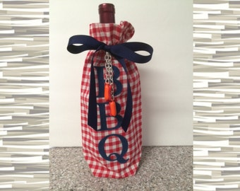 Wine Gift Bag Barbeque BBQ Cookout Red White Gingham with Denim and Gumball Hot Dog Charms