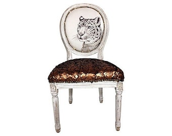 French Louis Shabby Chic Eclectic Victorian Owl Leopard Animal Chair Upholstered Painted and Distressed in Faux Fur