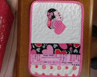 Happy Valentine's/ Mug Rug/office decor/coffee mat /small quilted item/