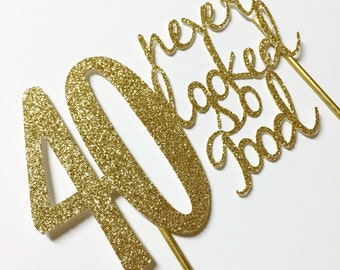 Gold- 40th birthday Cake Topper- 40 never looked so good
