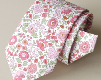 Mens floral tie handmade from Liberty tana lawn - D'Anjo pink and green Liberty tie