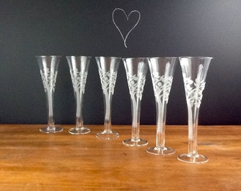 Vintage Tree of Life Champane Flutes Etched Glass Hand Blown Set of Six Wedding Toasters