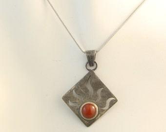 BALANCE * square pendant with carnelian
