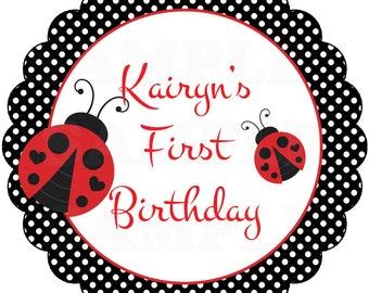 "Pink Bumble Bee  or Ladybug First Birthday - 2.5"" Favor Tags -Printable File"