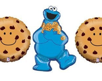 Sesame Street Cookie Monster birthday party supplies balloons