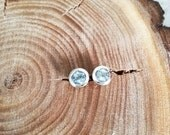 One of Kind Fine Silver Jewelry, Unique and Delicate Design Studs with Aquamarine in Sterling Silver, Handmade Silver Earrings