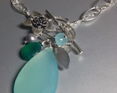 """Reserved 24"""", Aqua Chalcedony Drop Necklace -Flower Clasp Necklace with Gemstone- Silver link Necklace in Aqua"""