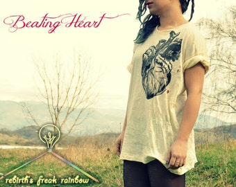 T-shirt Human Heart, hand-painted,  cotton 100%