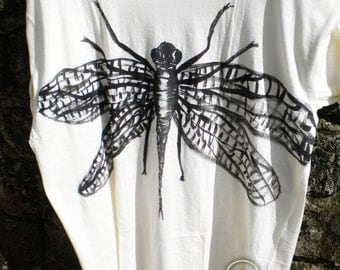 Dragonfly t-shirt, hand-painted,  cotton 100%