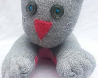 Sock Cat Kitty Grey Pink Doll Toy Handmade