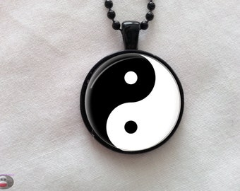 Yin Yang Glass Pendant Necklace