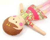 Ethnic Rag Doll for Girl -- Camille Doll with Short Acorn Felt Hair and Pink Striped Socks -- Perfect 1st Birthday Sweet Doll -- Ethnic Doll
