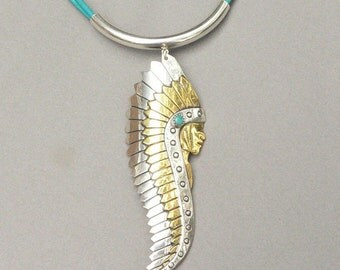 Native American and Greek Leather Necklace - Sterling Silve, Brass, Turquoise